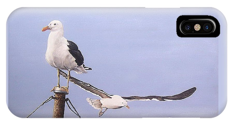Seascape Gulls Bird Sea IPhone X Case featuring the painting Seagulls by Natalia Tejera