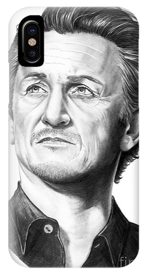 Portrait IPhone X Case featuring the drawing Sean Penn by Murphy Elliott