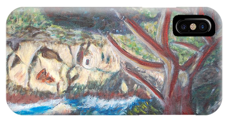 Point Lobos IPhone X Case featuring the painting Seascape at Point Lobos by Carolyn Donnell