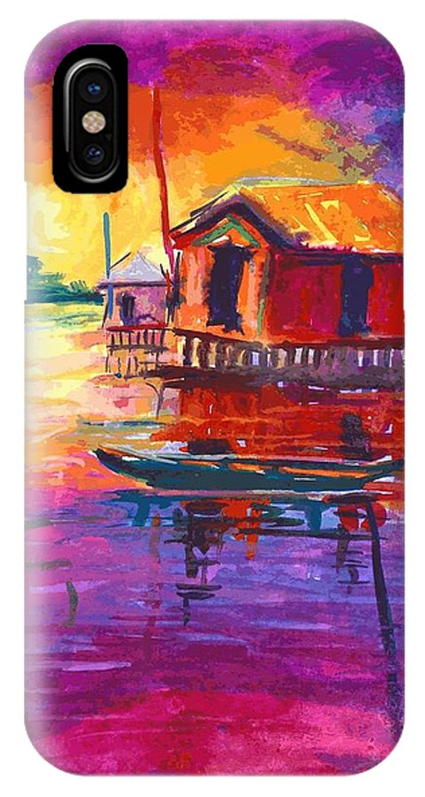 Water IPhone X Case featuring the painting Seascape by Okemakinde John abiodun