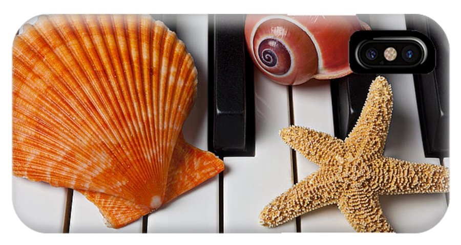 Sea Shell IPhone X Case featuring the photograph Seashell And Starfish On Piano by Garry Gay