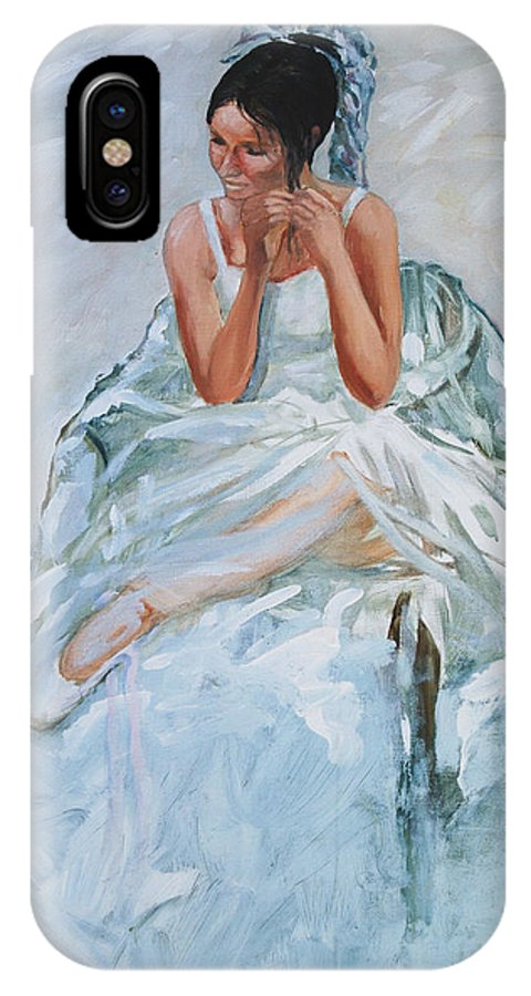 Figurative IPhone X Case featuring the painting Seated Dancer by Rick Nederlof
