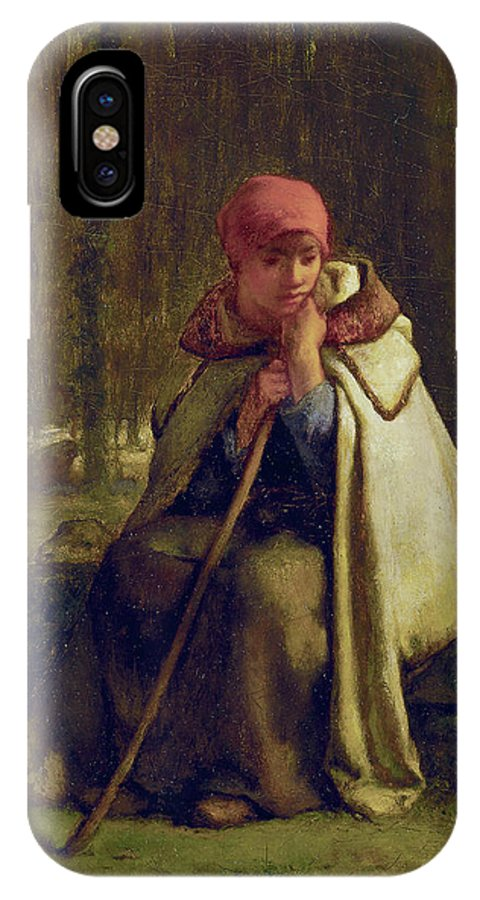 Barbizon School IPhone X Case featuring the painting Seated Shepherdess by Jean-Francois Millet