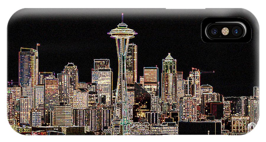 Colorful IPhone X Case featuring the photograph Seattle A Glow by Larry Keahey
