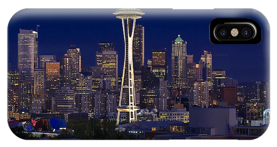 Seattle IPhone X Case featuring the photograph Seattle At Night by Larry Keahey