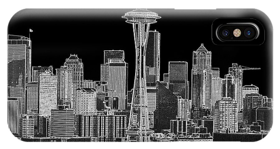 Black And White IPhone X Case featuring the photograph Seattle Black And White by Larry Keahey