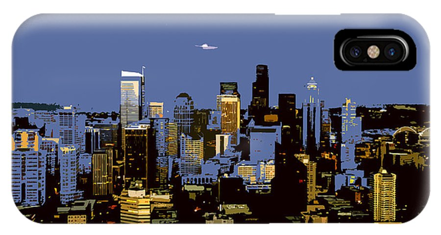 Seattle Washington IPhone X Case featuring the painting Seattle City by David Lee Thompson