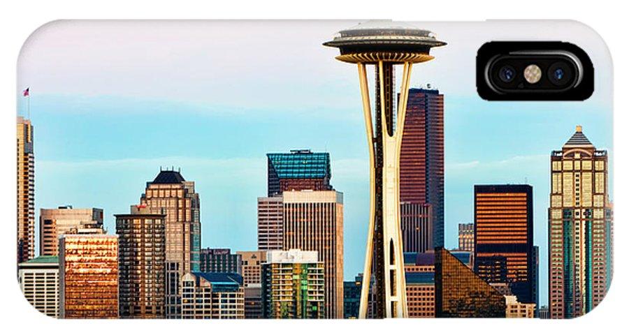 Seattle IPhone X Case featuring the digital art Seattle Daylight by Janet Fikar