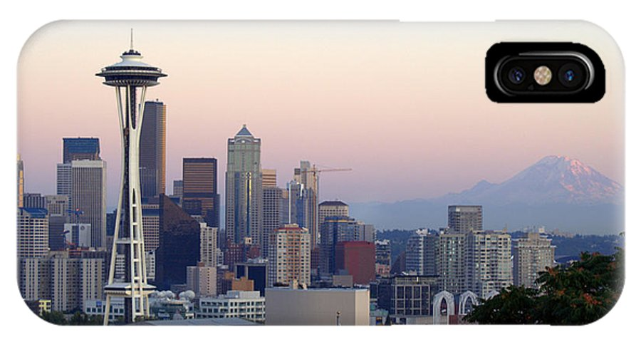 Mountain IPhone X Case featuring the photograph Seattle by Larry Keahey
