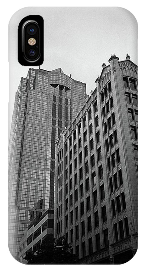 America IPhone X / XS Case featuring the photograph Seattle - Misty Architecture 3 Bw by Frank Romeo