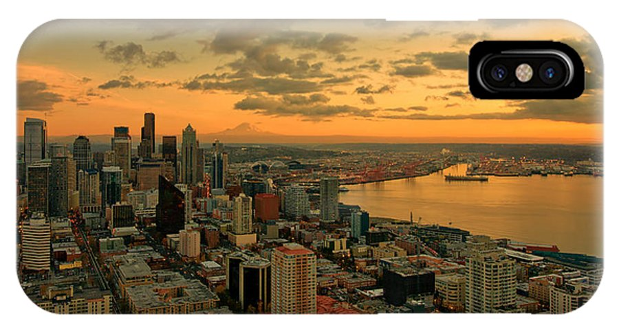 Seattle IPhone X Case featuring the photograph Seattle Sunset by Dan Mihai