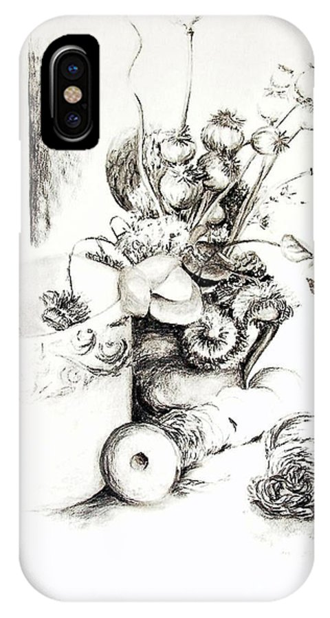 Still Life IPhone X Case featuring the drawing Sec by Muriel Dolemieux