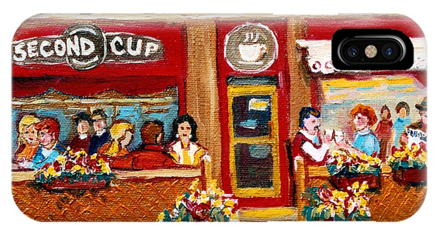 Second Cup Coffee Shop IPhone X Case featuring the painting Second Cup Coffee Shop by Carole Spandau