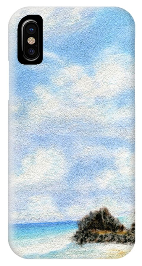 Coastal Decor IPhone X Case featuring the painting Secret Beach Sky by Kenneth Grzesik