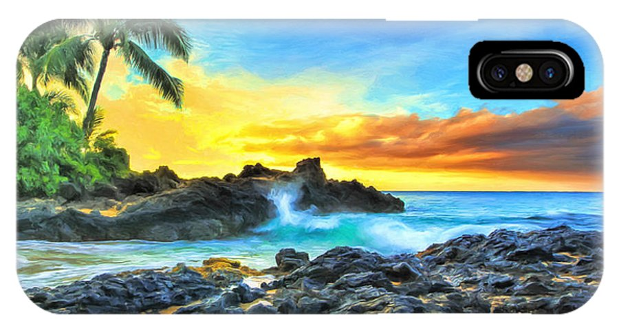 Pa'ako IPhone X Case featuring the painting Secret Cove Sunrise Maui by Dominic Piperata