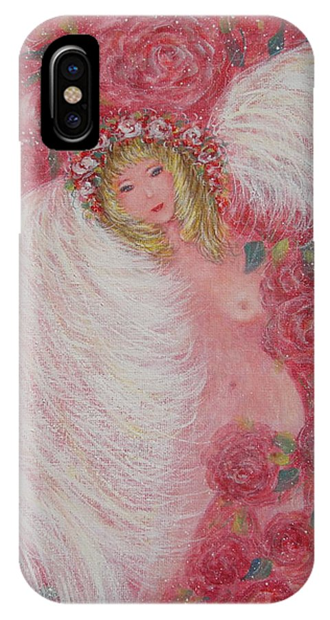 Angel IPhone Case featuring the painting Secret Garden Angel 6 by Natalie Holland