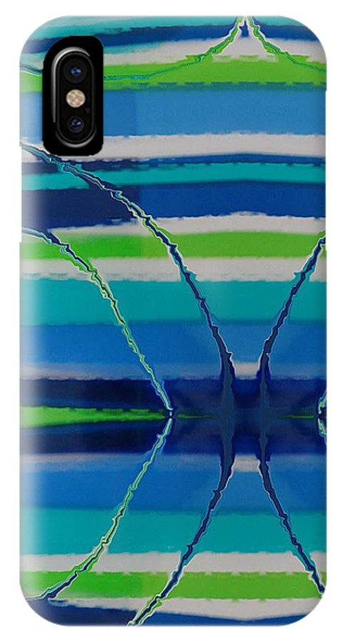 Abstract IPhone X / XS Case featuring the painting See Thru Blue by Florene Welebny