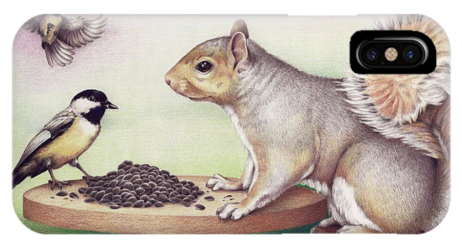 Squirrel IPhone X Case featuring the drawing Seed For Two by Amy S Turner