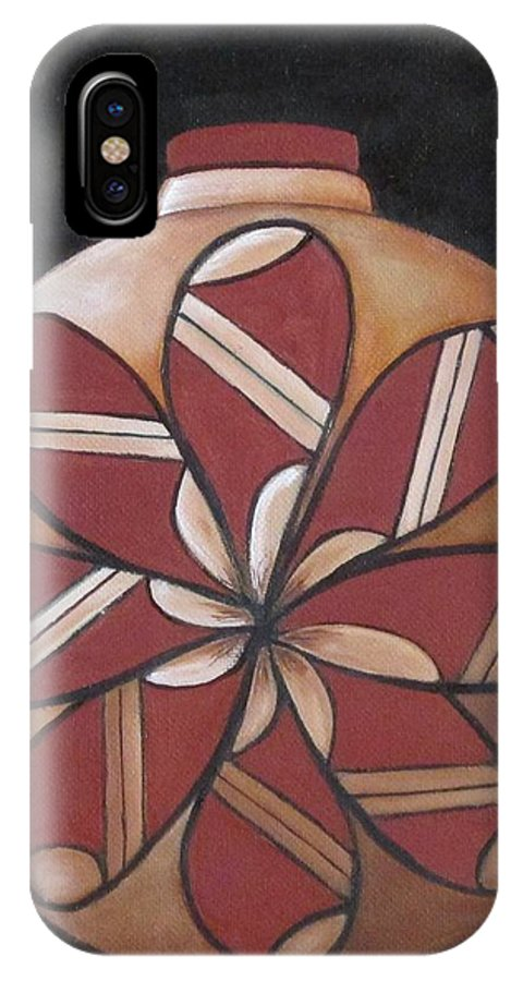 Seed Pot IPhone X Case featuring the painting Seed Pot by Judy Lybrand