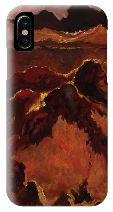Abstract IPhone X / XS Case featuring the painting Seismic Shift by Tara Moorman