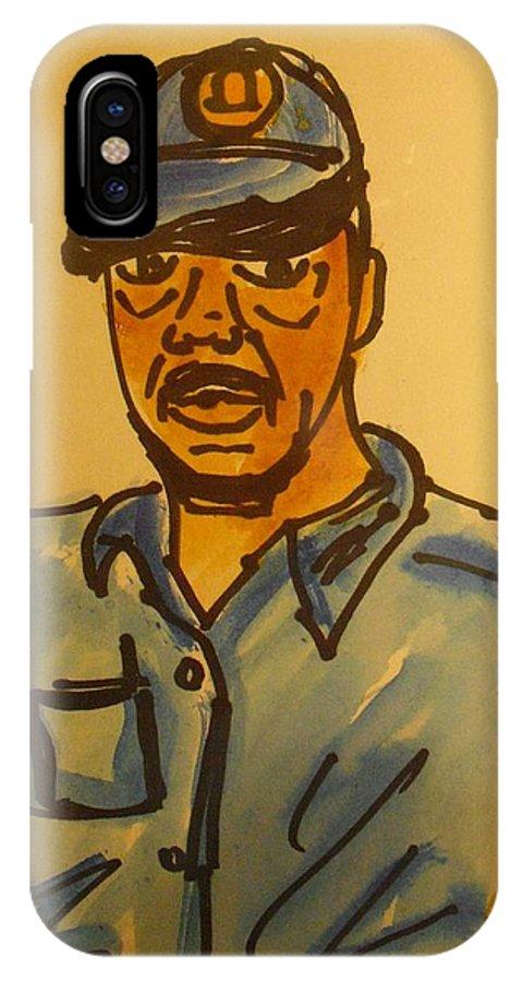 Artist Self Portrait IPhone X Case featuring the drawing Self Portrait by Troix Johnson
