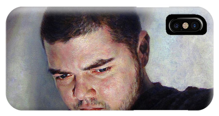 Self IPhone X Case featuring the painting Self Portrait W Shadows by Joe Velez