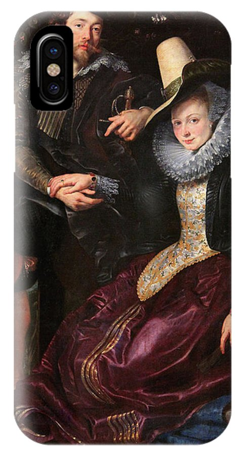 Baroque IPhone X Case featuring the painting Self Portrait With Isabella Brandt, His First Wife, In The Honey by Peter Paul Rubens