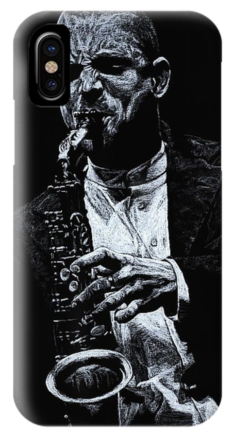 Musician IPhone X Case featuring the pastel Sensational Sax by Richard Young