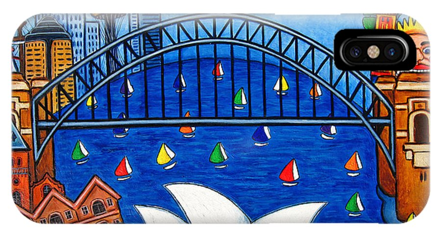 House IPhone X Case featuring the painting Sensational Sydney by Lisa Lorenz