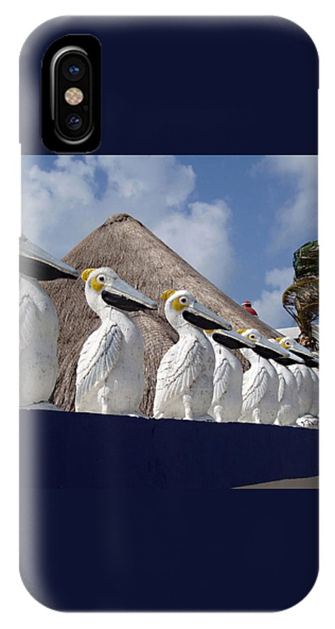 Sentry Pelicans IPhone X Case featuring the photograph Sentry Pelicans by Ellen Henneke