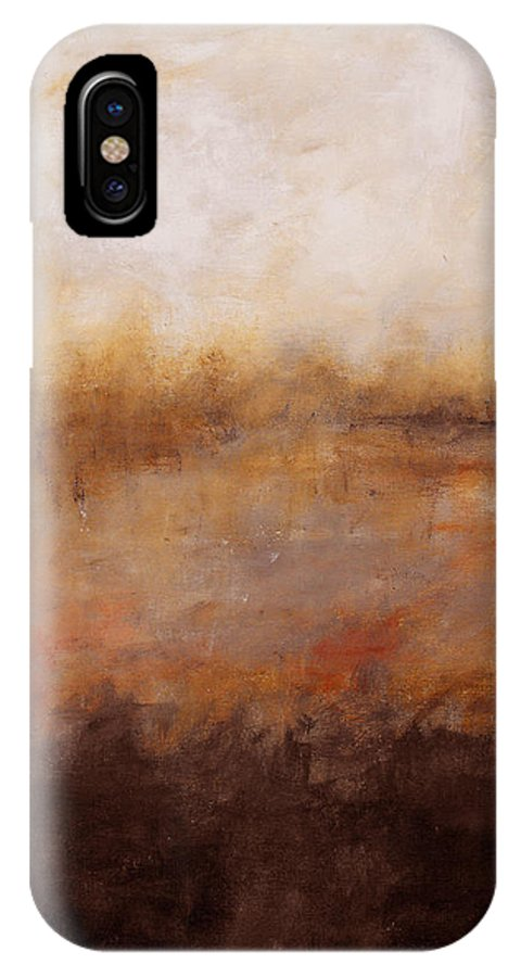 Abstract IPhone X Case featuring the painting Sepia Wetlands by Ruth Palmer