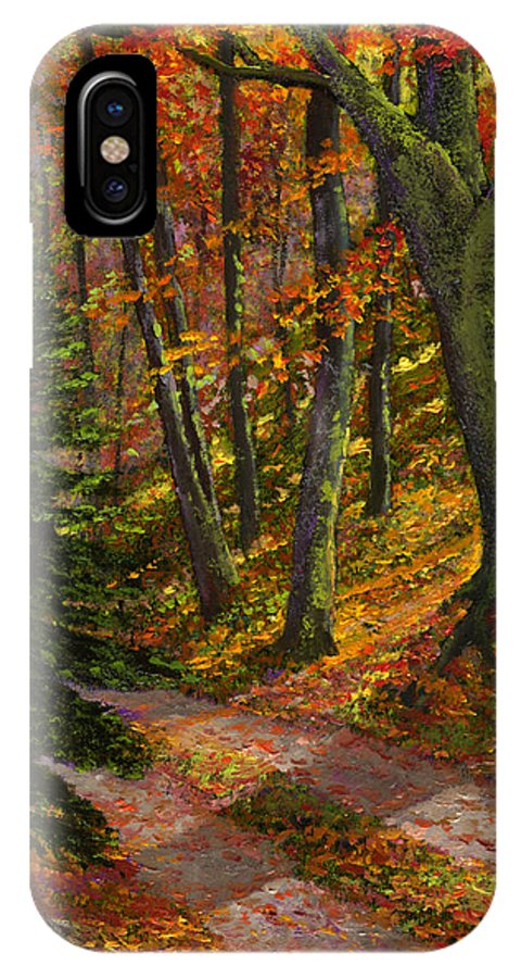 Road In The Woods IPhone X Case featuring the painting September Road by Frank Wilson