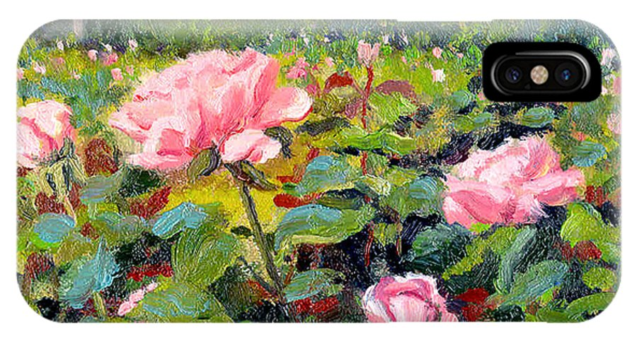 Impressionism IPhone X / XS Case featuring the painting September Roses by Keith Burgess