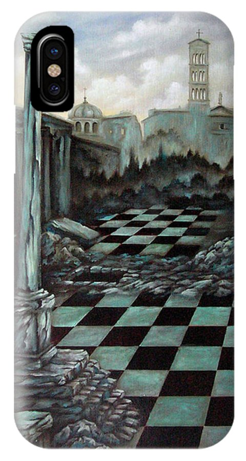 Surreal IPhone X Case featuring the painting Sepulchre by Valerie Vescovi