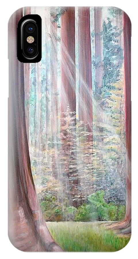 Landscape IPhone X Case featuring the painting Sequoia by Muriel Dolemieux