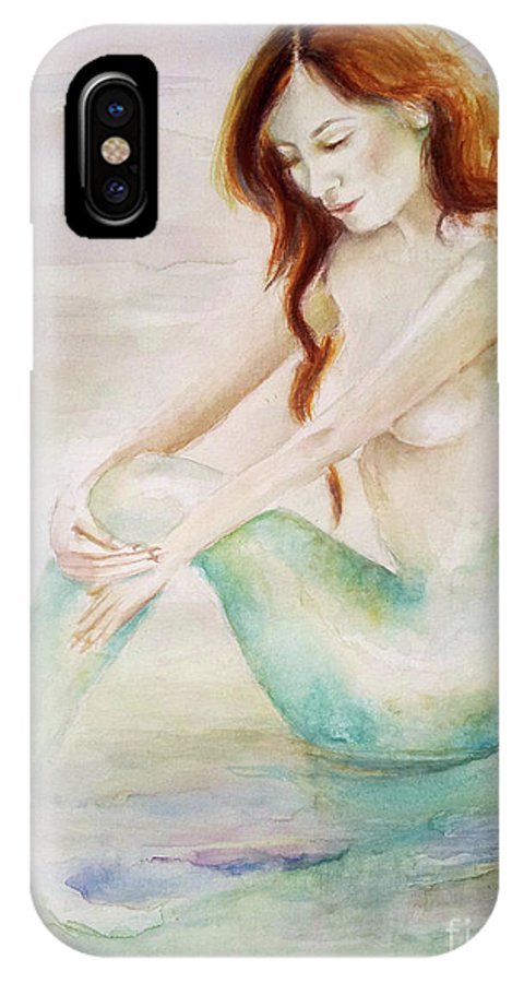Mermaid IPhone X Case featuring the painting Serene Moments by Andrea Realpe