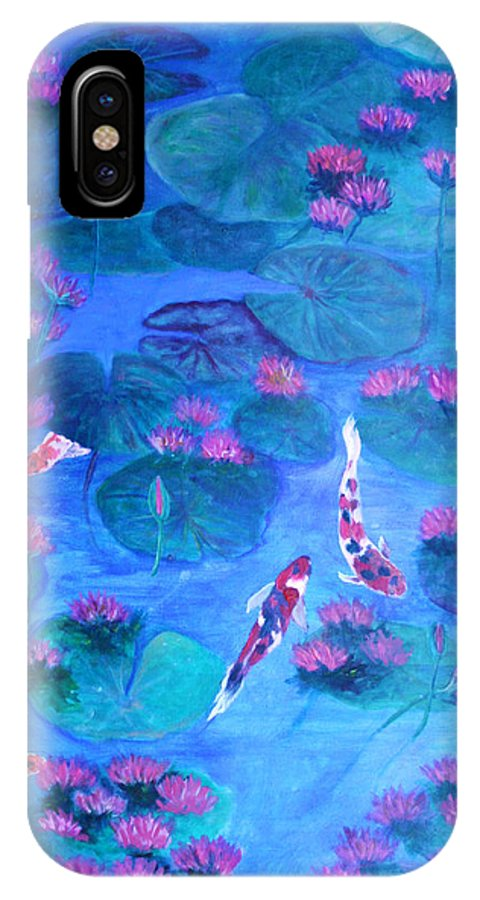 Lily Pads IPhone X Case featuring the painting Serene Pond by Ben Kiger