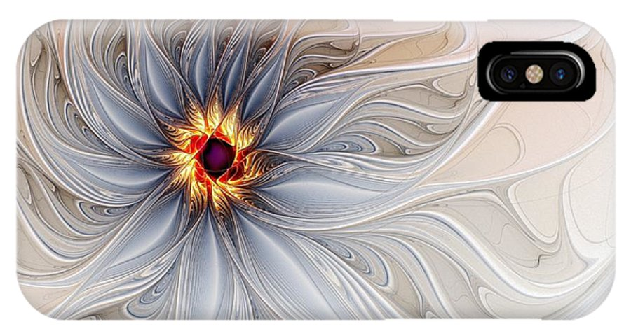 Digital Art IPhone X Case featuring the digital art Serenely Blue by Amanda Moore
