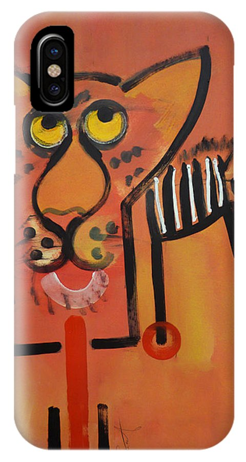 Big Cat IPhone X Case featuring the painting Serengeti Cat by Charles Stuart