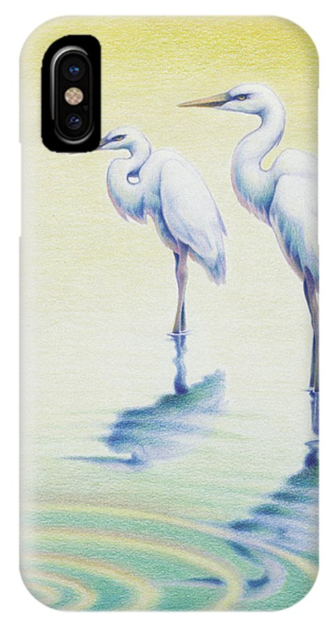 Birds IPhone X Case featuring the drawing Serenity by Amy S Turner