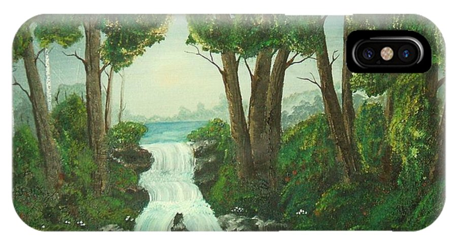 Waterfall IPhone X Case featuring the painting Serenity by Brandy House