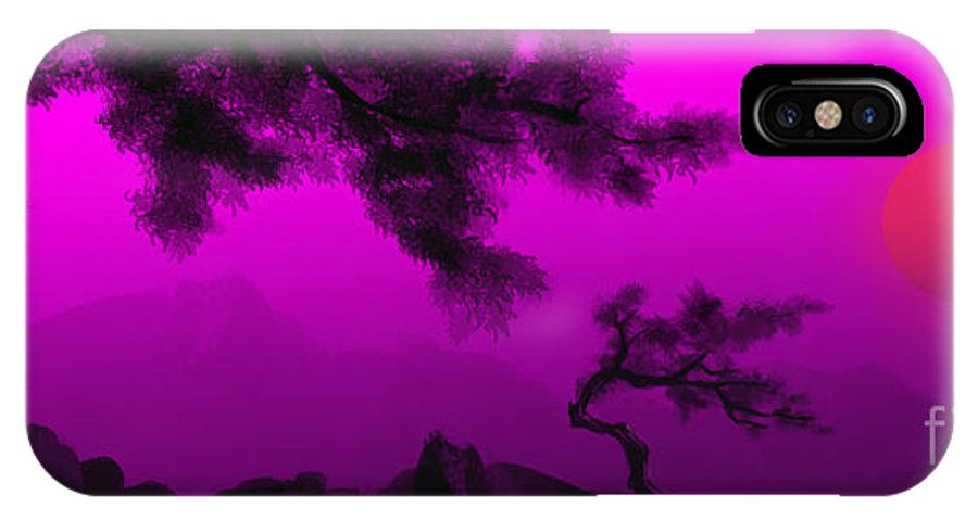 Japanese; Sunset; Mountains; Trees; Rising; Sun; Contemporary; Purple; Pink;sunrise; Sunset IPhone X / XS Case featuring the painting Serenity by James Christopher Hill