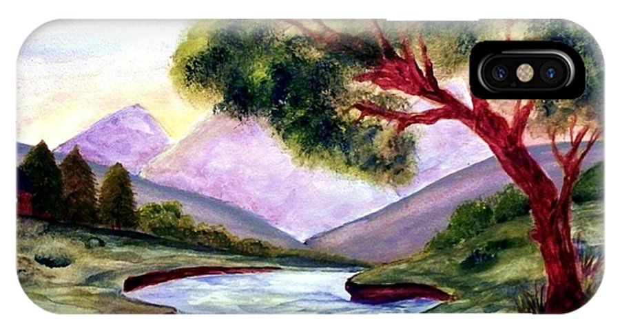 Landscape IPhone X Case featuring the painting Serenity by Robin Monroe