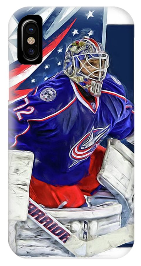 Sergei Bobrovsky IPhone X Case featuring the mixed media Sergei Bobrovsky Columbus Blue Jackets by Joe Hamilton