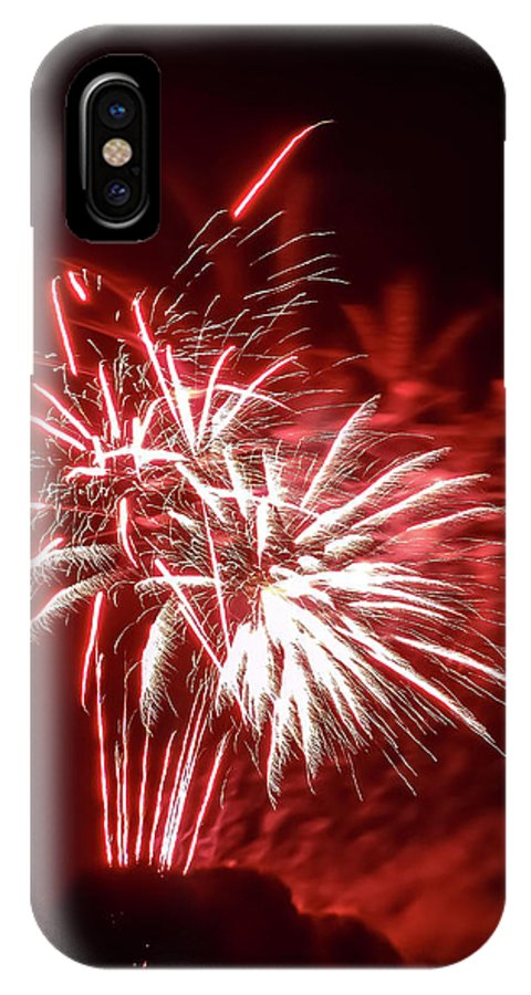 Series Of White Fireworks IPhone X Case featuring the photograph Series Of Red And White Fireworks by Cynthia Woods