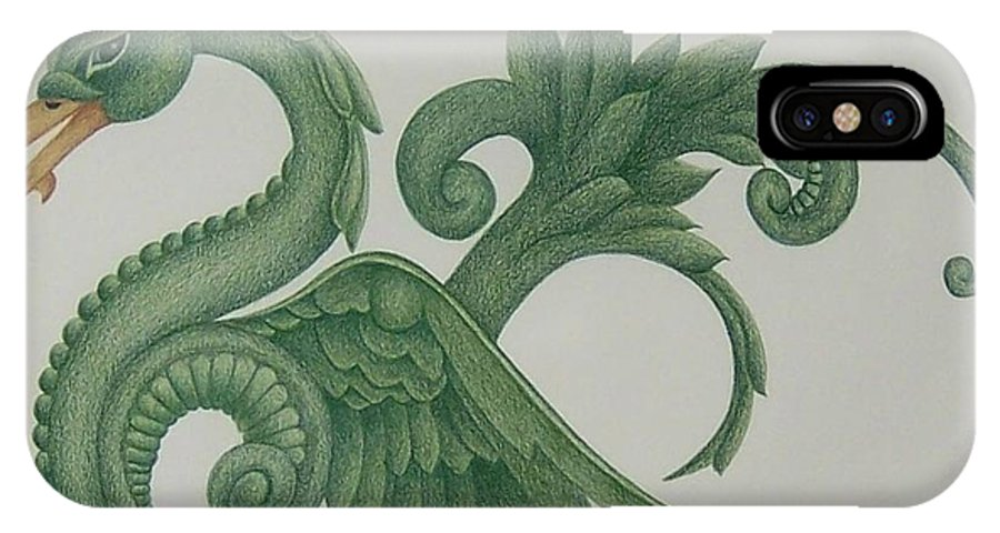 Serpent IPhone X Case featuring the drawing Serpent by Emily Young