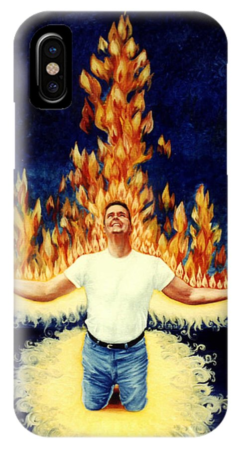 Holy Spirit Fire IPhone X Case featuring the painting Set Aflame by Teresa Carter