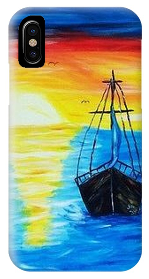 Original Canvas Art IPhone X Case featuring the painting Set Sail by Joan Kramer