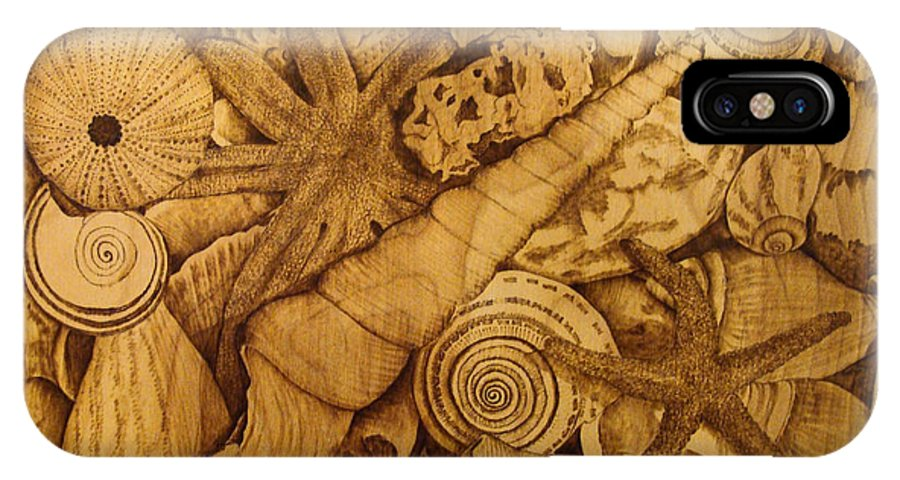 Pyrography; Sepia; Shells; Sea Shells; Starfish; Ocean; Sea; Underwater; Sea Life; IPhone X Case featuring the pyrography Settled by Jo Schwartz