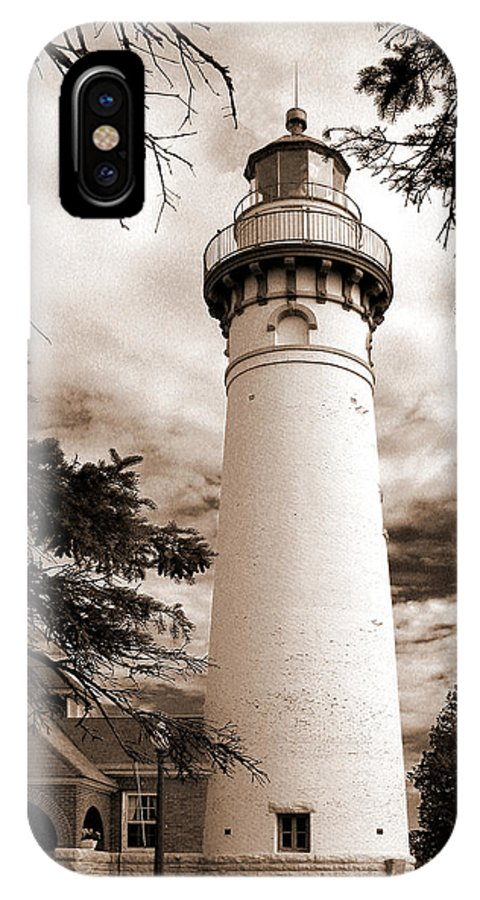 Lighthouse IPhone X Case featuring the photograph Seul Choix Point Lghthouse Mi by Rich Stedman